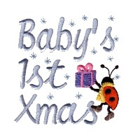machine embroidery design ladybug ladybird baby's first christmas present gift insect animal winter snow fun art pes hus dst needle passion embroidery npe
