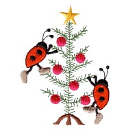machine embroidery design ladybug ladybird insect charlie brown type christmas tree decorating animal winter snow fun art pes hus dst needle passion embroidery npe